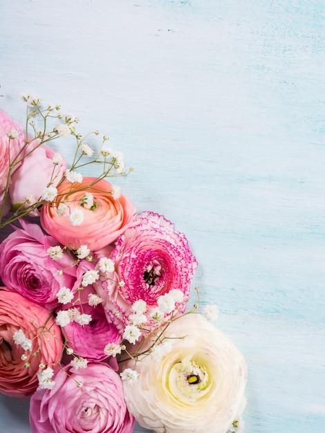 Mooi roze boterbloemenkader op turkooise houten achtergrond. Premium Foto