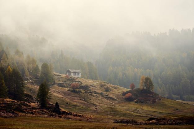 Mooi schot van een huis op een met gras begroeide heuvel dichtbij beboste bergen in een mist Gratis Foto