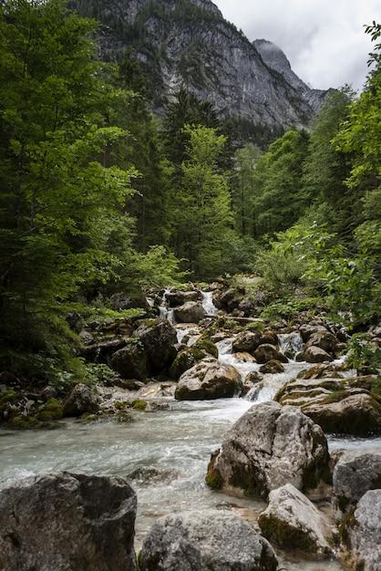 Mooi schot van een stromende rivier in een berglandschap in wetterstein, duitsland Gratis Foto