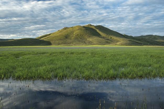 Mooi schot van zoetwater moeras met een groene berg en een blauwe bewolkte hemel in de Gratis Foto