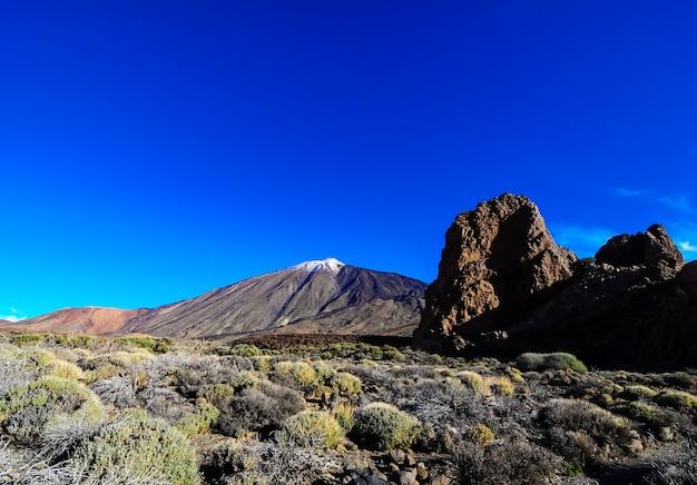 Mooi shot van een berg, grote rotsen en groene planten in een helderblauwe lucht Gratis Foto