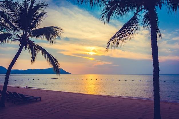 Mooi strand en zee met palmboom Gratis Foto
