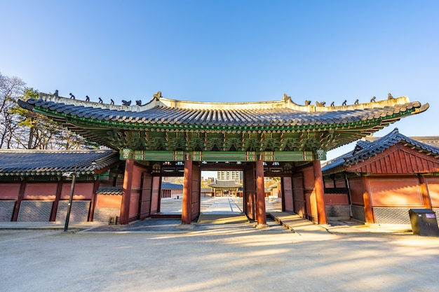 Mooie architectuur die het paleis van changdeokgung in de stad van seoel bouwen Gratis Foto
