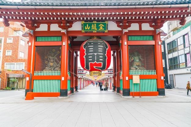 Mooie architectuur in sensoji tempel in asakusa gebied in japan Gratis Foto