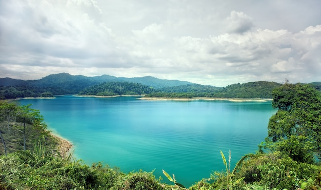 Mooie blauwe watervijver Premium Foto