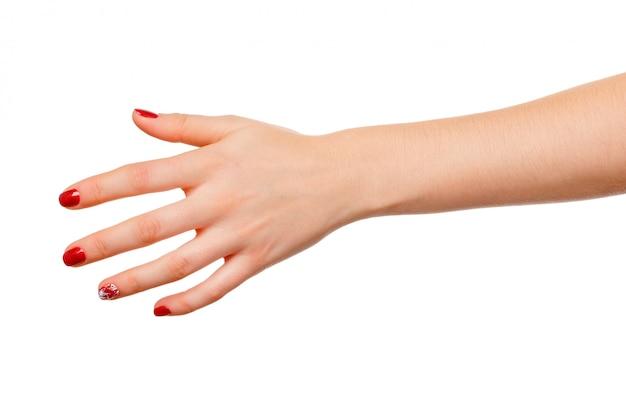 Mooie die het tekenholding van de vrouwenhand op wit wordt geïsoleerd Premium Foto