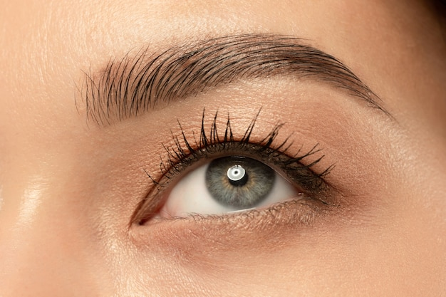 Mooie jonge vrouw oog close-up shot. Gratis Foto
