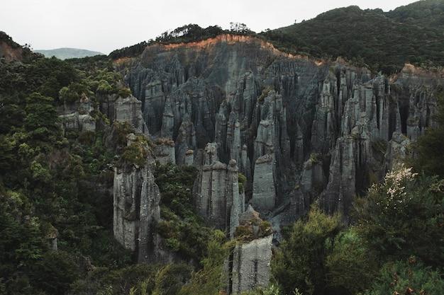 Mooie luchtfoto van de vorming van rotsen tussen bos op een heuvel Gratis Foto