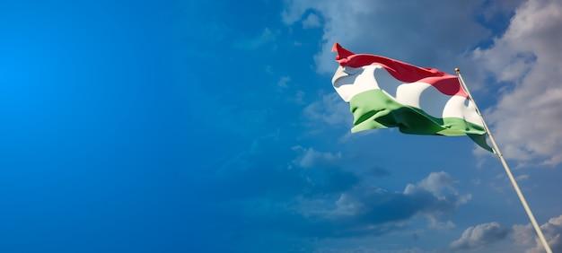 Mooie nationale vlag van hongarije met lege ruimte op brede achtergrond Premium Foto
