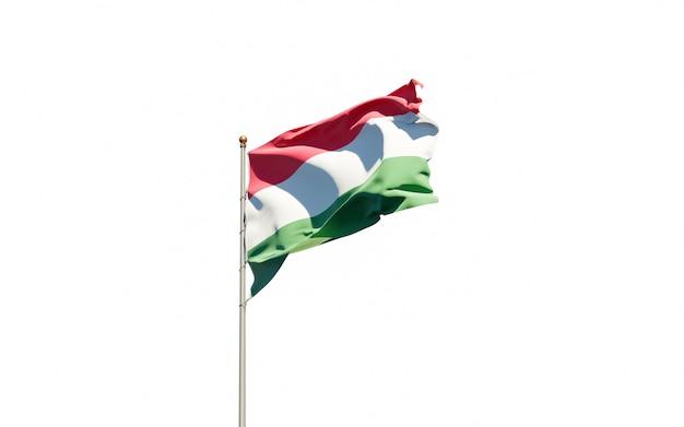 Mooie nationale vlag van hongarije wapperen Premium Foto