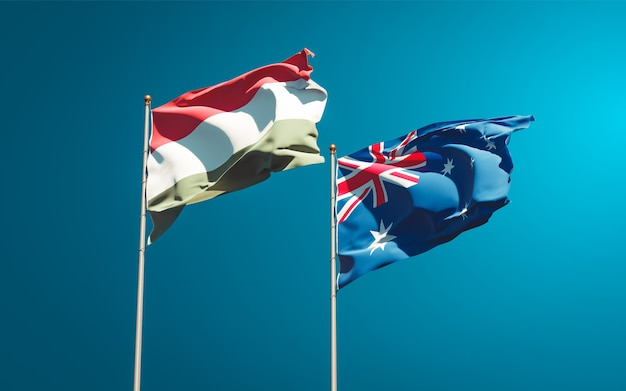 Mooie nationale vlaggen van hongarije en australië samen Premium Foto