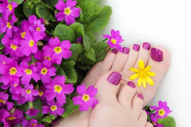 Mooie paarse pedicure op vrouwenvoeten met bloemen op een witte achtergrond. Premium Foto