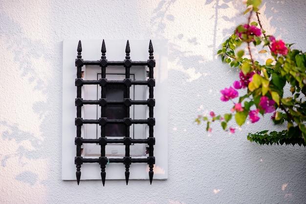 Mooie ramen met metalen staven op een witte muur met bloemen. Premium Foto