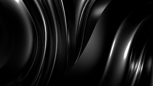 Mooie stijlvolle zwarte achtergrond met plooien, gordijnen en wervelingen. Premium Foto