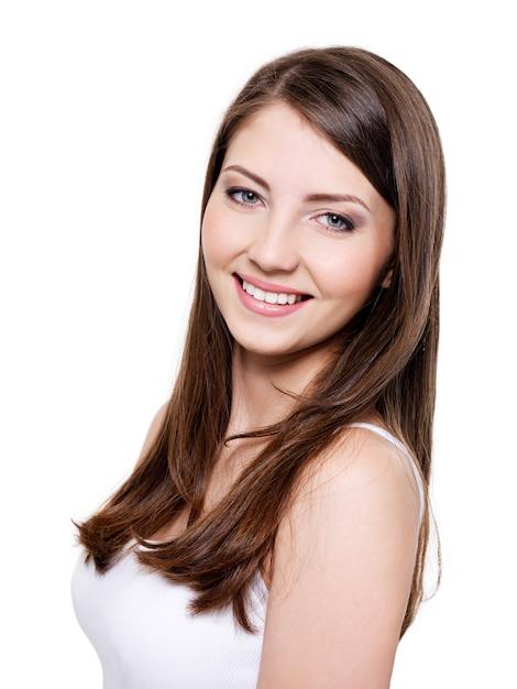 Mooie toothy glimlachende vrouw Gratis Foto