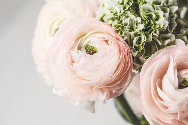 Mooie verse roze ranunculus bloemen, witte achtergrond. Premium Foto