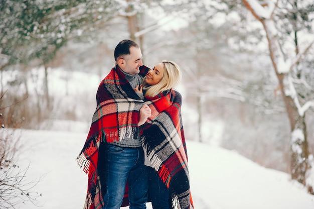 Mooie vrouw in een winter park met haar man Gratis Foto