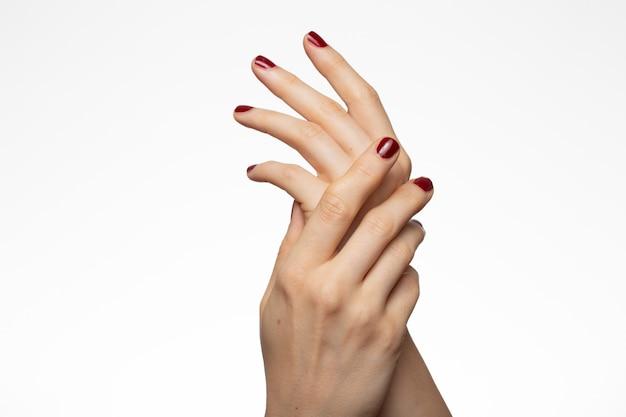 Mooie vrouwelijke handen met een rode nagellak Gratis Foto