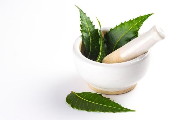 Mortier en een stamper met geneeskrachtige neembladeren op wit oppervlak Premium Foto