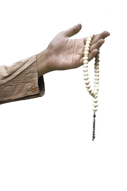 Moslim hand met gebed kralen Premium Foto