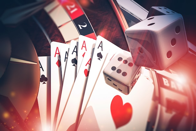 Multi casino games concept 3d render illustratie Premium Foto