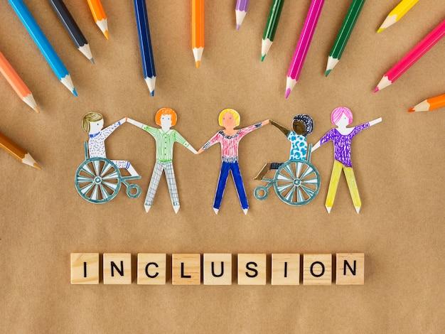 Multi-etnisch en gehandicapten gemeenschapsinclusieconcept Gratis Foto