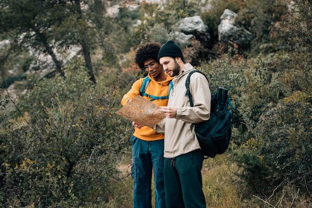 Multi etnische mannelijke wandelaar die kaart in het bos bekijken Gratis Foto