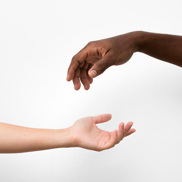 Multiraciale handen komen samen Premium Foto