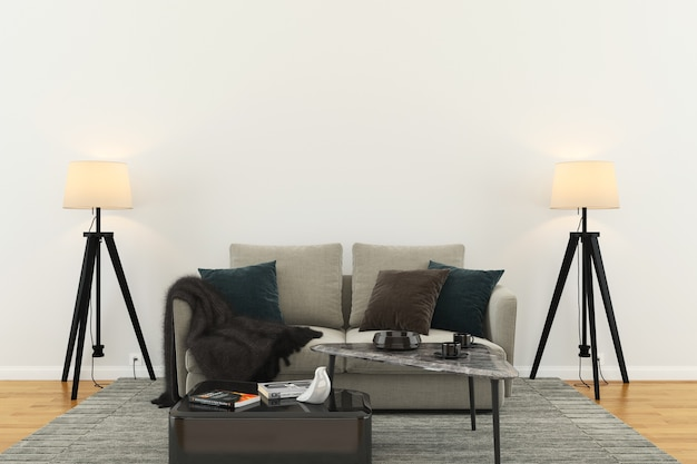 Muur houten vloer interieur sofa stoel lamp interieur 3d woonkamer Premium Foto