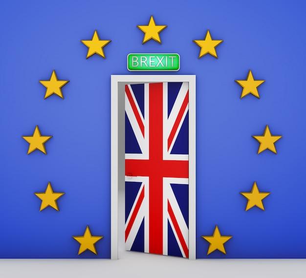 Muur in de vorm van een vlag van de europese unie en een deur met de vlag van groot-brittannië. 3d-rendering. Premium Foto