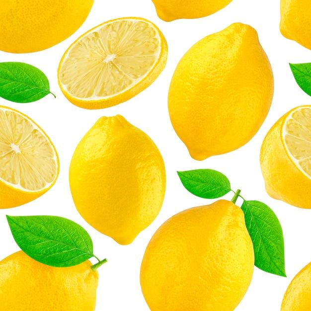 Naadloos patroon met citroenen. citroen die op wit wordt geïsoleerd Premium Foto