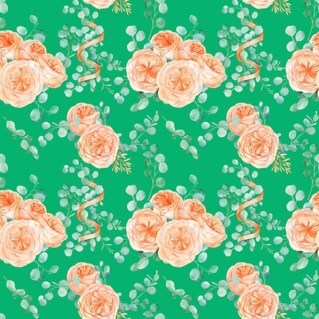 Naadloos patroon met perzik en sinaasappel met engelse roos austin bloem en eucalyptus Premium Foto