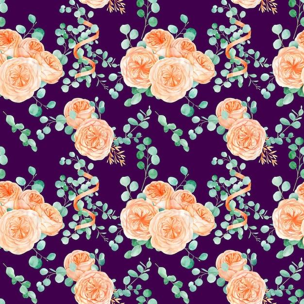 Naadloos patroon met perzik engelse roos austin bloem en eucalyptus Premium Foto