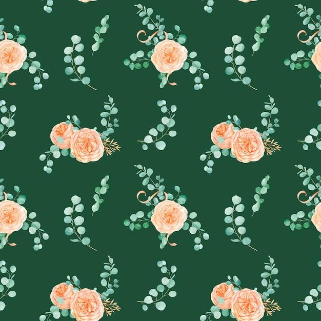 Naadloos patroon met rose austin flower en eucalyptus Premium Foto