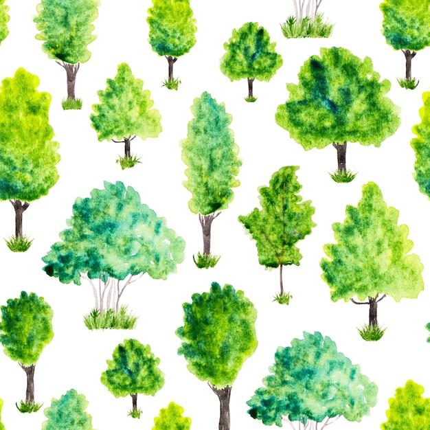 Naadloos patroon met waterverf groene bomen en gras. natuur achtergrond Premium Foto