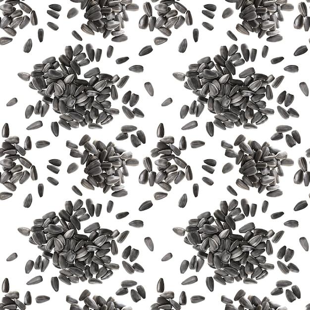 Naadloos patroon van zwarte zonnebloemzaden Premium Foto