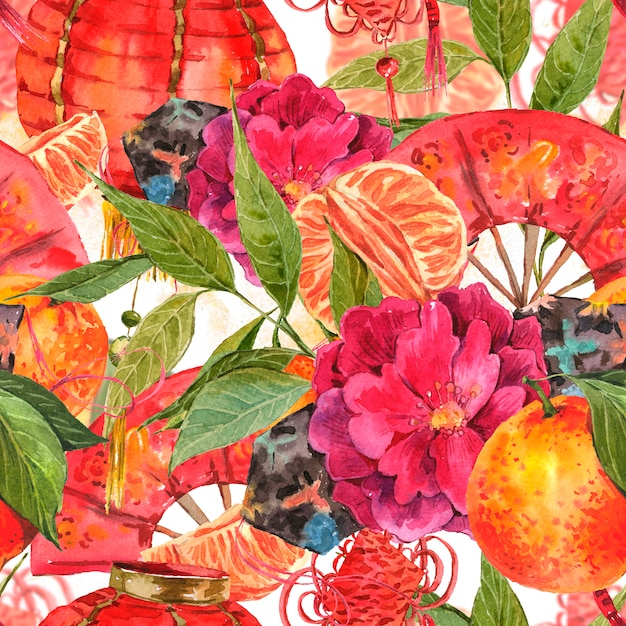 Naadloze aquarel chinees nieuwjaar achtergrond Premium Foto