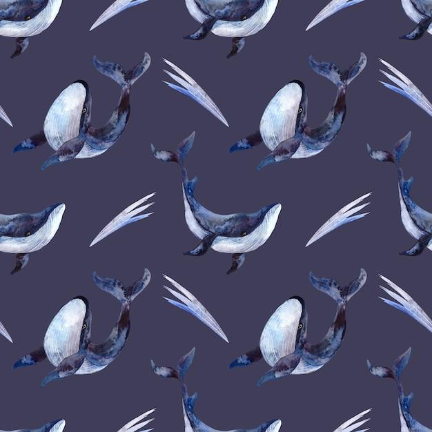 Naadloze aquarel patroon met blauwe vinvissen op een blauwe achtergrond, aquarel illustratie met een marien thema Premium Foto