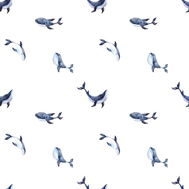 Naadloze aquarel patroon met blauwe vinvissen op een witte achtergrond, aquarel illustratie met een marien thema Premium Foto