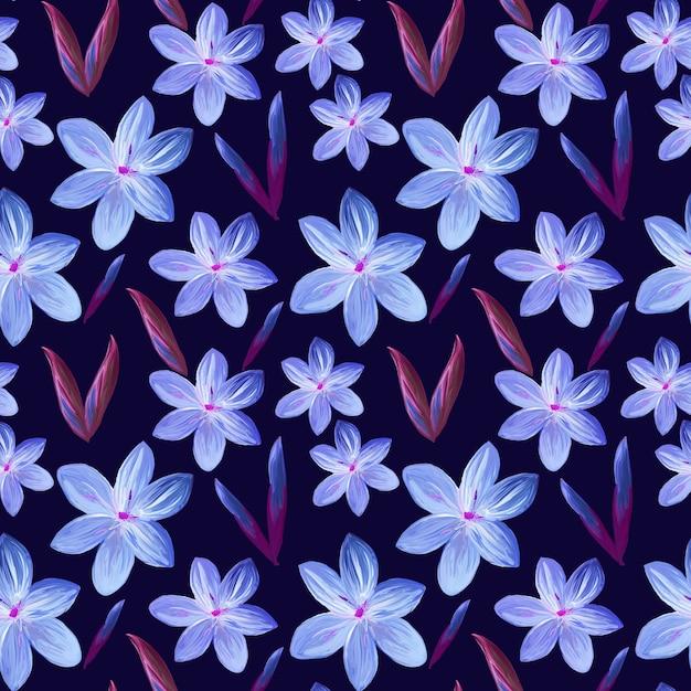 Naadloze bloemmotief met paarse bloemen Premium Foto