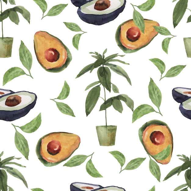 Naadloze patroon handgetekende aquarel illustratie. avocado plakjes. Premium Foto