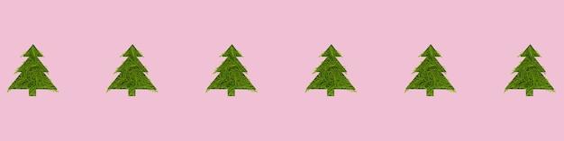 Naadloze patroon met groene kerstbomen op een roze achtergrond. nieuwjaar en kerstmisconcept. grootformaat banner Premium Foto