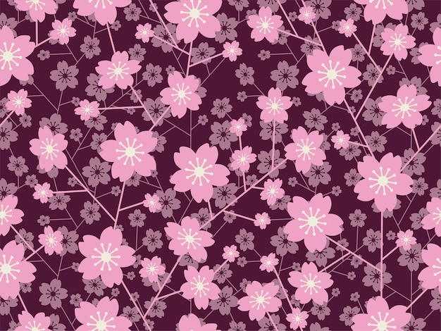Naadloze vector cherry blossom bloemmotief geïsoleerd op een donkere achtergrond horizontaal en verticaal herhaalbaar Premium Foto