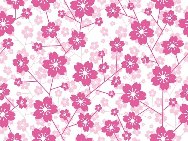 Naadloze vector cherry blossom bloemmotief geïsoleerd op een witte achtergrond horizontaal en verticaal herhaalbaar Premium Foto