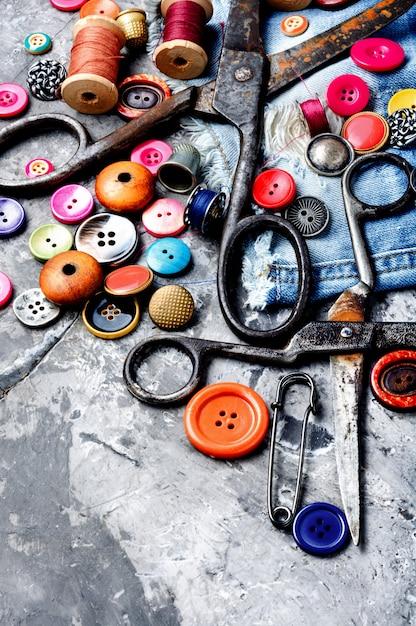 Naaien accessoires en stof Premium Foto