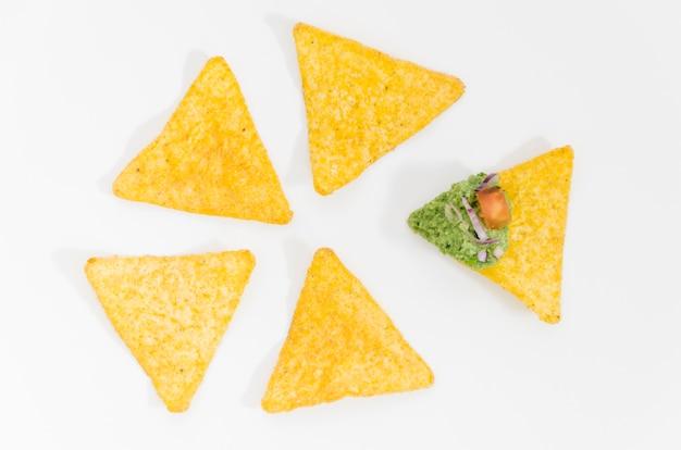 Nachos en guacamole dip saus Gratis Foto