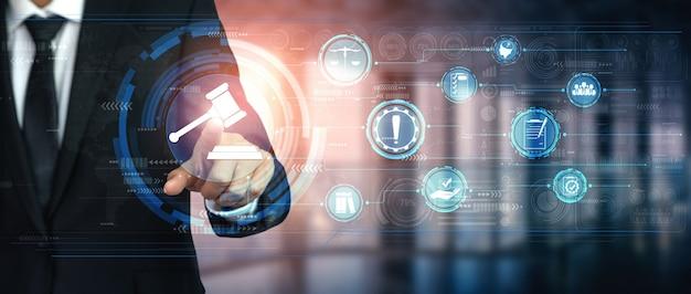 Naleving regel wet- en regelgeving grafische interface voor bedrijfskwaliteitsbeleid Premium Foto