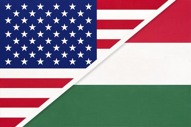 Nationale vlag van de vs versus hongarije Premium Foto