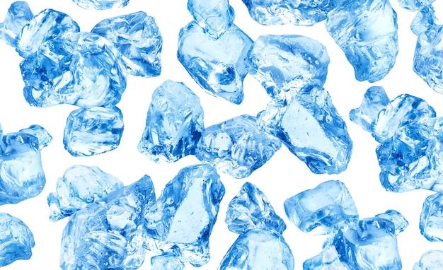Natuurlijke ijsblokjes op wit Premium Foto