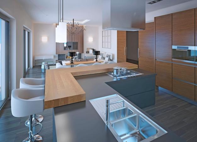 Neoklassieke keukeninrichting met bar en gemengd houten en stenen aanrechtblad met gasfornuis en bruine zebrano kasten. Premium Foto